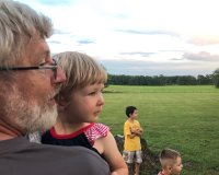 H with Baba, enjoying 4th of July fireworks